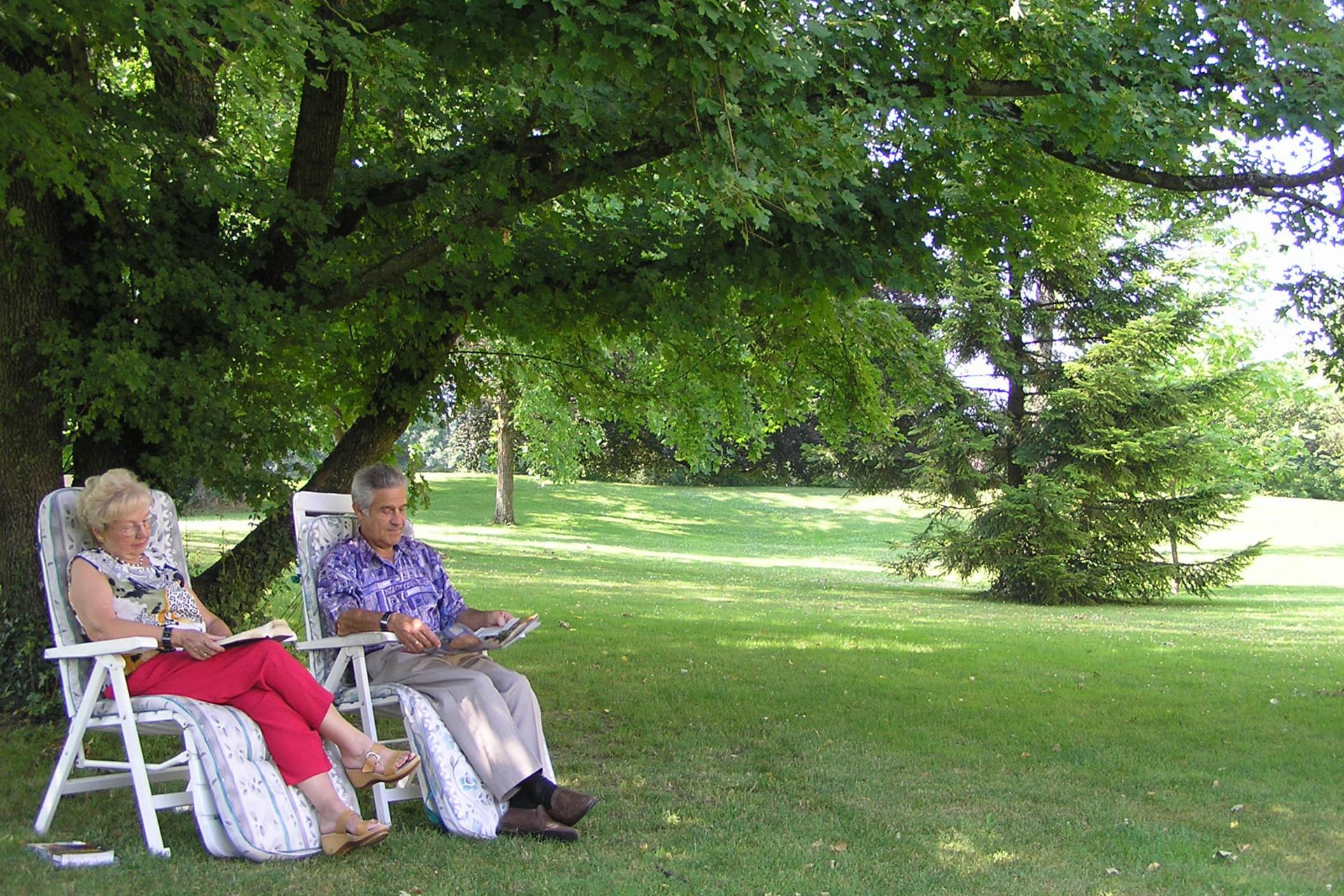 Frau und Mann lesen im sommerlichen Park